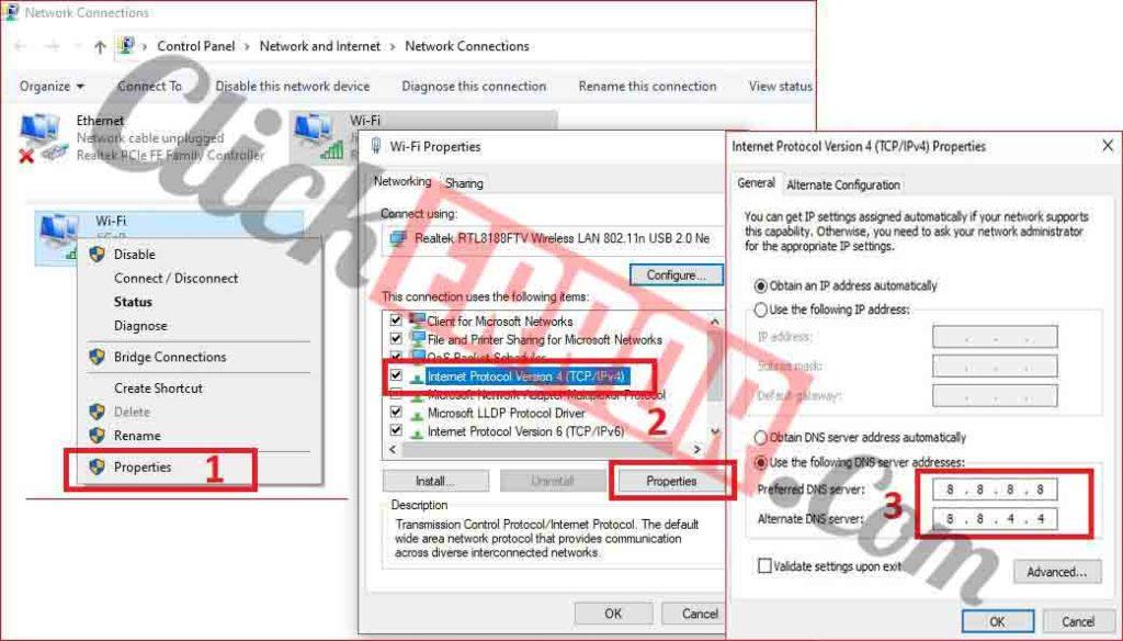 Change The DNS Server Manually Fix DNS Server Not Responding Error