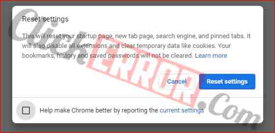 Reset Browser Settings In Google Chrome