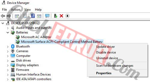 Update The Drivers On Your Windows To Fix No Battery Is Detected Error